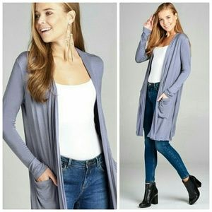 Blue long open front cardigan with pockets
